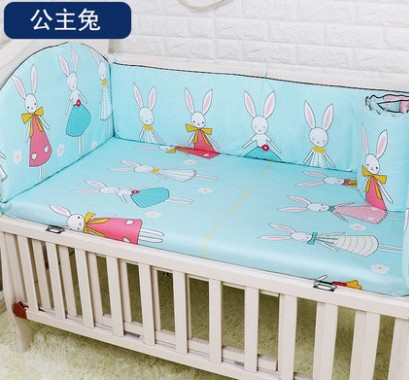 Promotion! 5PCS cot bedding set ,infant nursery set,baby bedding set bumper,include:(bumpers+sheet)