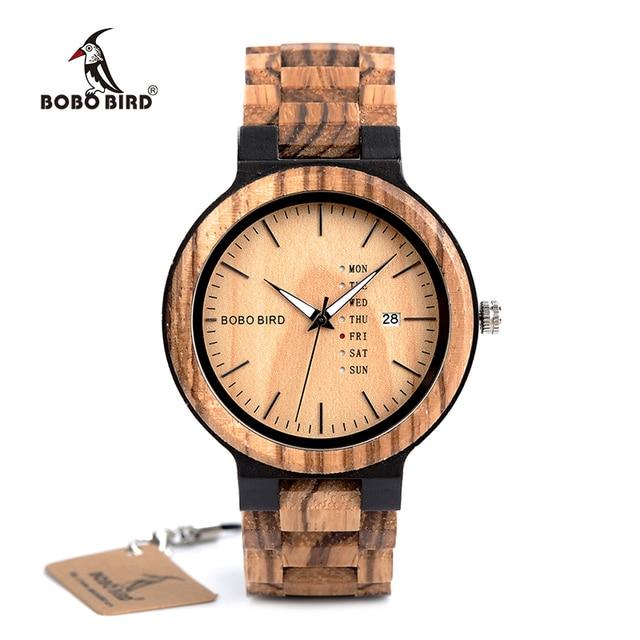בובו ציפור קלאסי גברים עץ שעון עץ מותאם אישית בנד גברים קוורץ שעונים Orologio da uomo זרוק חינם Kuvars Kol Saatleri