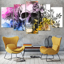 HD Printed Modern Canvas Living Room Pictures Painting 5 Panel Skull With Flowers Frame Wall Art Modular Poster Home Decor