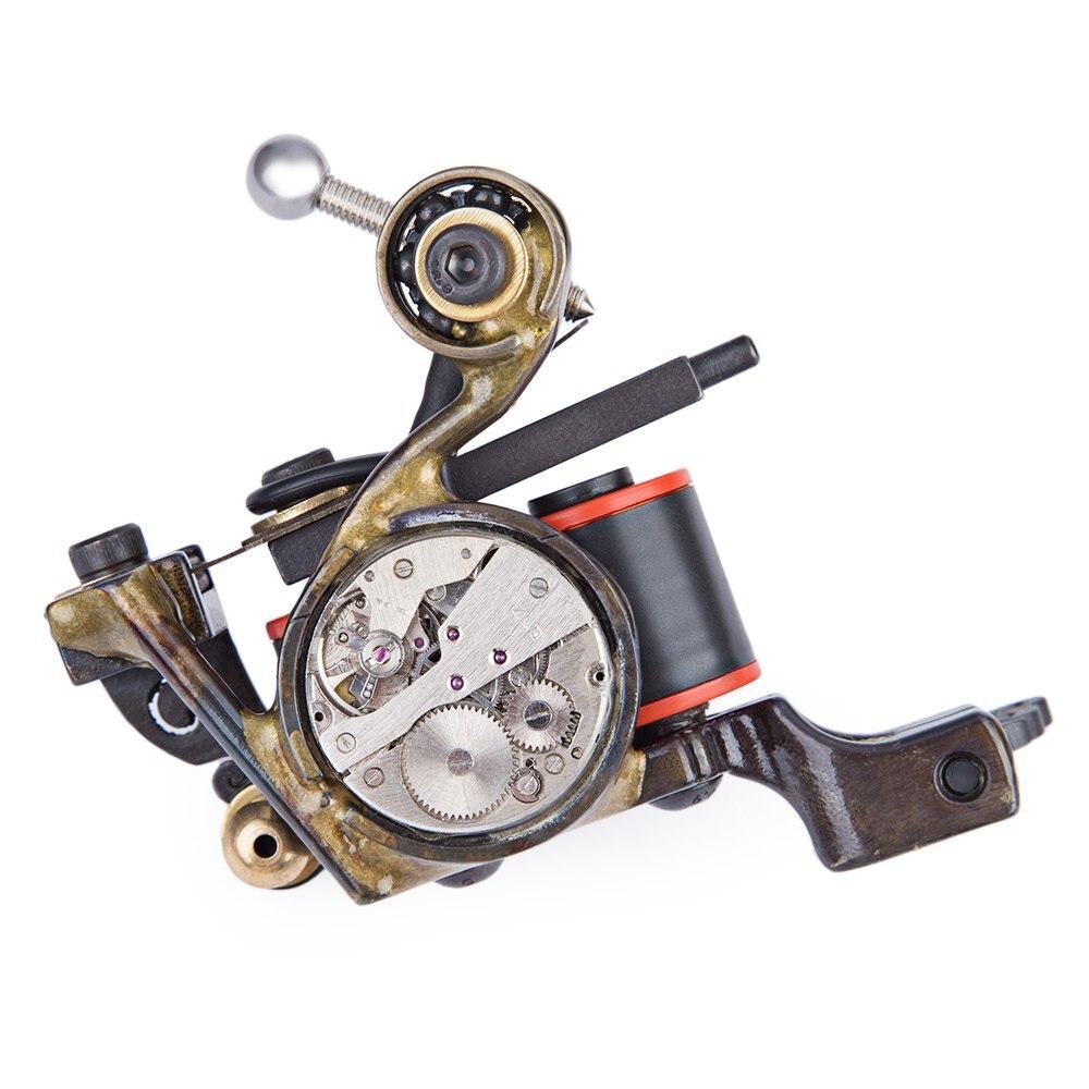 ФОТО Quartz Movement Design High accuracy Professional Steampunk Liner Electric Tattoo Machine Gun 10 Wraps Coils Steel Supply