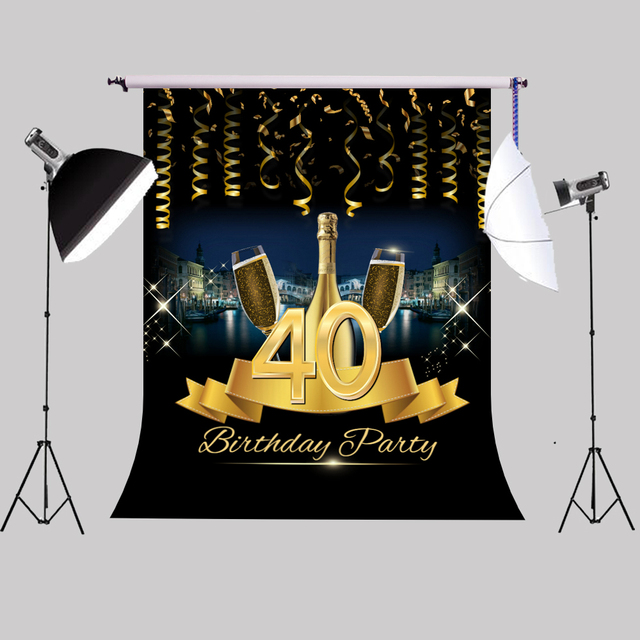 40th Birthday Party Backdrop Photocall Gold Ribbon Champagne