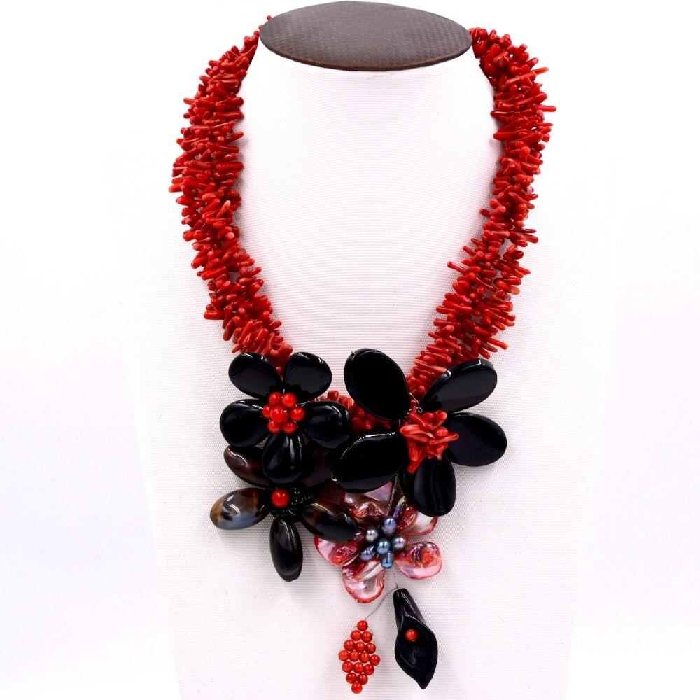 Us 8599 3 Wiersze Red Coral Czarny Agat Kwiat Naszyjnik 19 Inch Natura Prezent Barokowy Hurtownie Koraliki W 3 Wiersze Red Coral Czarny Agat Kwiat