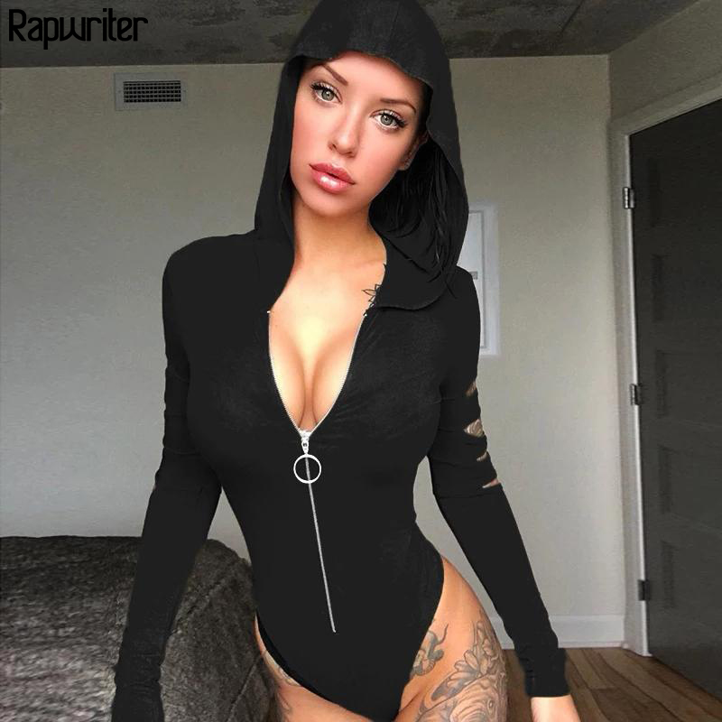 Rapwriter Casual Ring Zipper Hoodies Bodysuit Women 2019 Spring Streetear Long Hollow Out Sleeve One Piece Open Crotch Bodysuit