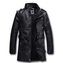 Mens PU Leather Fleece Jackets Motorcycle Bomber Coats Homme Long Section Fleece Brand Clothing Jaqueta De