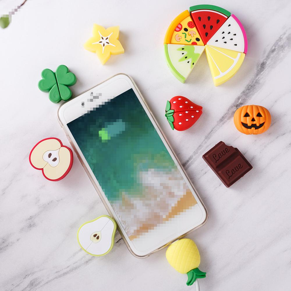 Cartoon Fruit Series Cable Protector Cute Mini Holder Charging Cable Winder Organizer Portable Mobile Smart Phone Accessories