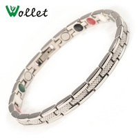 Wollet Health Care Energy Bio Magnetic Stainless Steel Magnetic Bracelet Bangle For Women Infrared Germanium Tourmaline