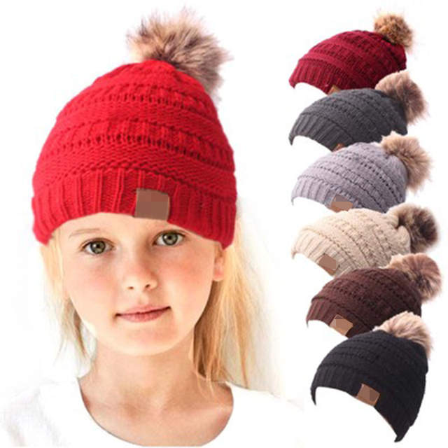 7bac117f58253 Online Shop Children Winter Hat Beanie Faux Fur Pom Pom Ball For Hat  Knitted Cap Skully Warm Ski Hat Trendy Soft Brand Thick Female girl Cap