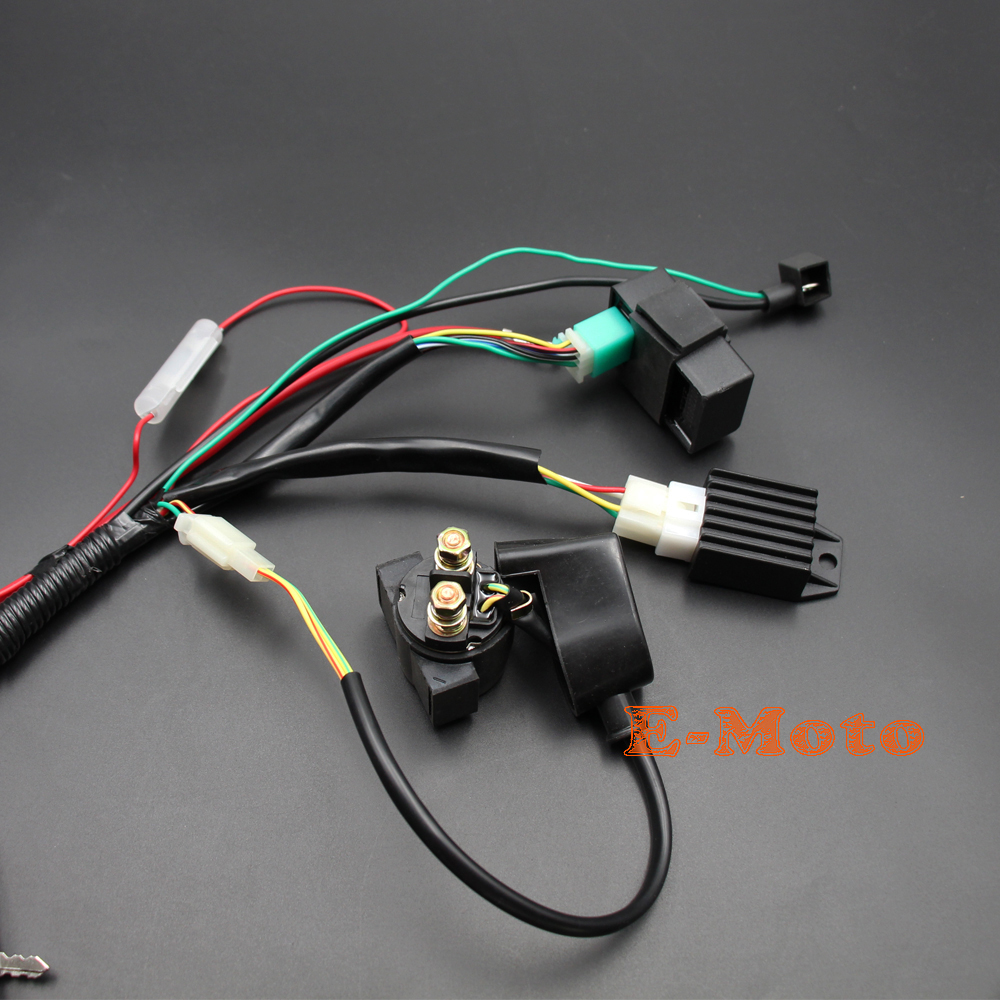 Full Wiring Loom Harness Cdi Coil Switch Kick Start Engine 50cc 70cc Dirt Pit Bike Kill Ignition Set 110 125 90cc 110cc 125cc Trail