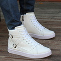 Новое Прибытие Белый Высокий Верх Повседневная Обувь Мужчин Зашнуровать Круглый носок Хип-Хоп Плоский Черный Досуг Обувь Человек Лодыжки Загрузки Пряжки 39-44