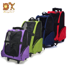 DannyKal Pet Dual-use Double Wheel Trolley Bag Carrier Dog Cat Travel Out Bag Shoulder Backpack Multi-purpose Fashion Roller kr strikeforce royal flush double roller bowling bag