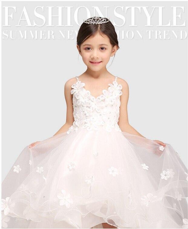 Superbe robe de mariée blanche longue robe de demoiselle d'honneur Organza Applique longueur de plancher princesse bébé filles robes d'anniversaire