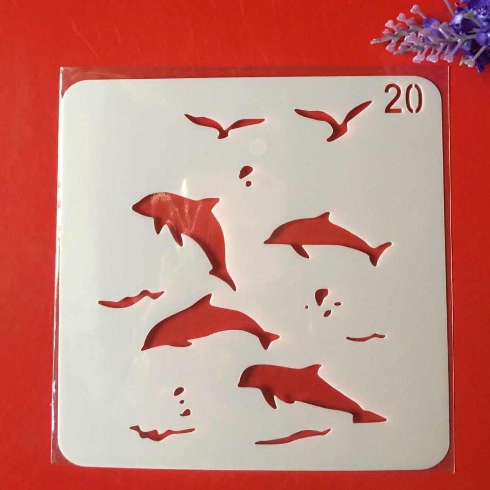 Hot 13cm Bird Ocean Animal DIY Layering Stencils Wall Painting Scrapbook Coloring Embossing Album Decorative Card Template
