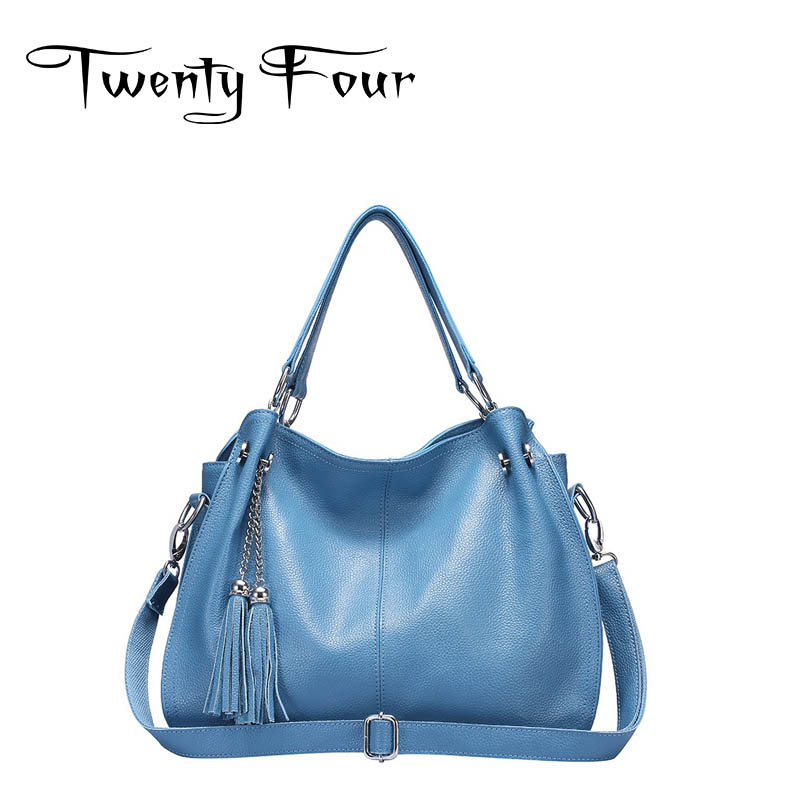 Twenty-four Women new Luxury shoulder bag real Genuine Leather casual tote High-quality fashion Trend Ladies tassel totes solid new fashion brand genuine leather women handbag classic luxury women totes bag women shoulder bag casual luxury women bag 4color