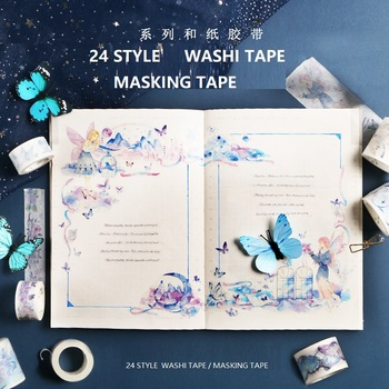 24 NEW Washi Tape Butterfly/Angel/Flowers/Girls Japanese Decorative Adhesive DIY Masking Paper Washi Tape Stickers Label Gifts image