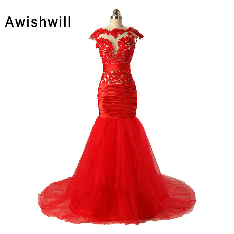 Горячая распродажа абити да церимония да сера с открытой спиной кепка рукав кружева тюль русалка выпускного вечера платья длинные красные вечернее платье