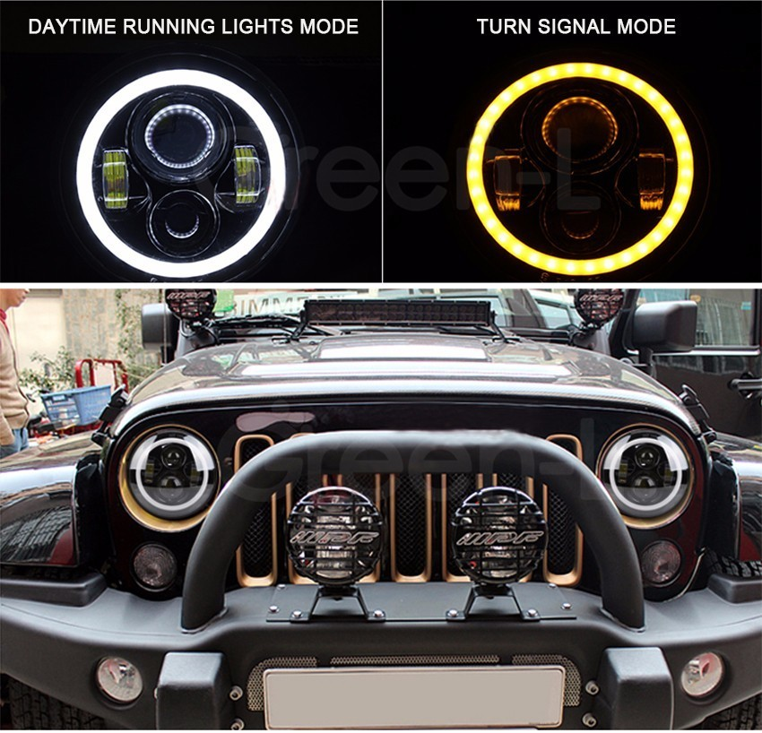 2X7'' Inch H4 H/L LED Headlight Halo Angel Eyes DRL + 4 Halo Front Bumper Fog Light for Jeep Wrangler Hummer Land Rover Truck for opel astra h gtc 2005 15 h11 wiring harness sockets wire connector switch 2 fog lights drl front bumper 5d lens led lamp