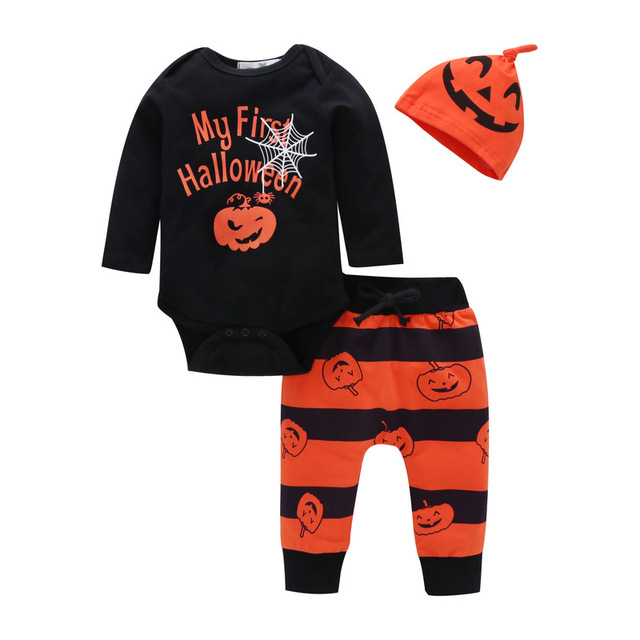 6d03fa90f baby autumn clothes set / My First Halloween / Black and Orange colors mixed