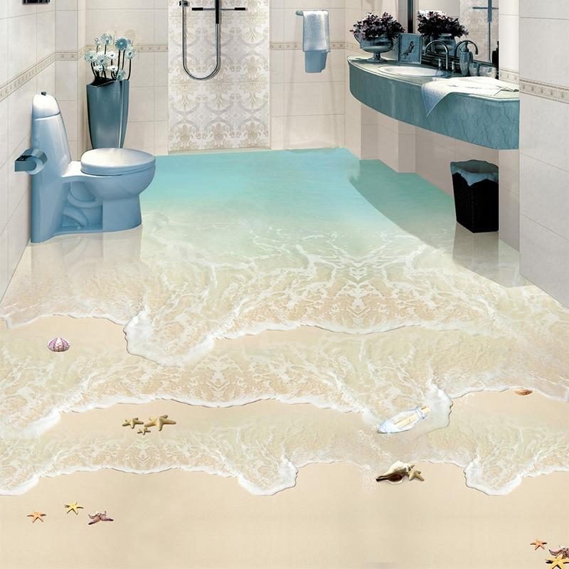 Modern Simple Beach Sea Wave Photo Wall Paper 3D Floor Tiles Murals Sticker Bathroom Waterproof Self Adhesive Vinyl 3D Wallpaper