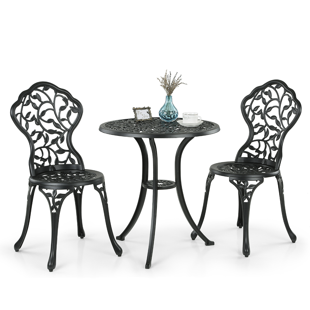 ikayaa 3pcs modern outdoor patio bistro set aluminum porch balcony garden table u0026 chairs set furniture