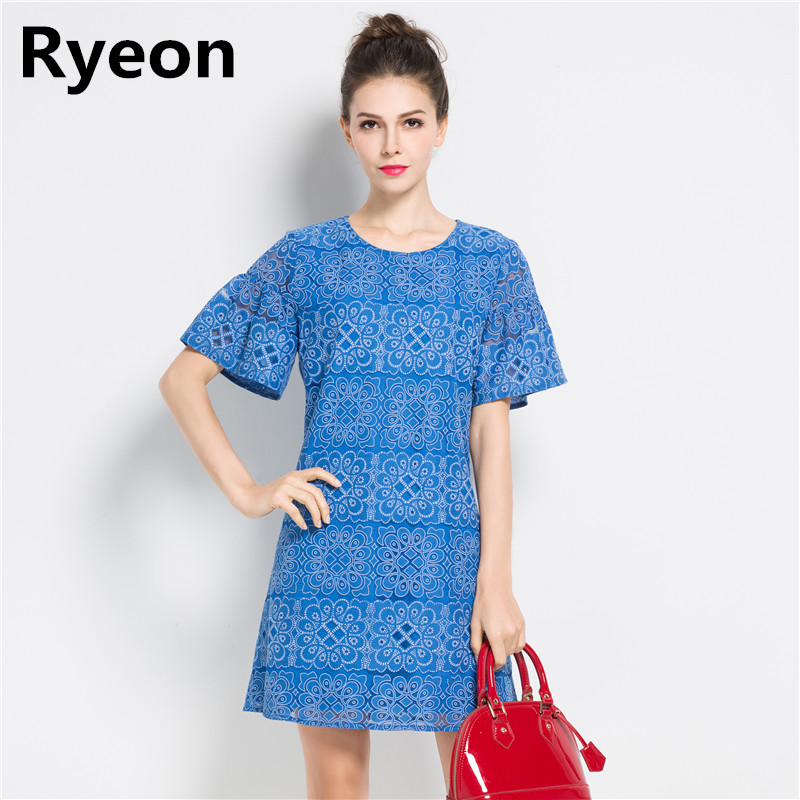 Ryeon Plus Size Blue Lace Elegance Summer Dress Striped Short Sleeve Hollow  Out Flare Sleeve Dresses A Line Women Dresses 4xl 582b7e93479c