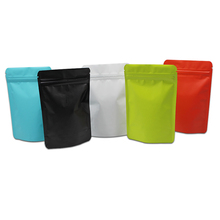 100st Stand Up Gekleurde Matte Pure Aluminiumfolie Zip Lock Bag Heat Seal Valve Doypack Mylar Coffee Powder Packaging Zip Bags
