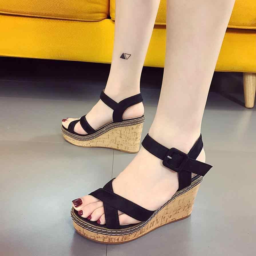 da6ae2b24 ... mokingtop platform sandals women Women Fish Mouth Platform High Heels  Wedge Sandals Buckle Slope Sandals Summer ...