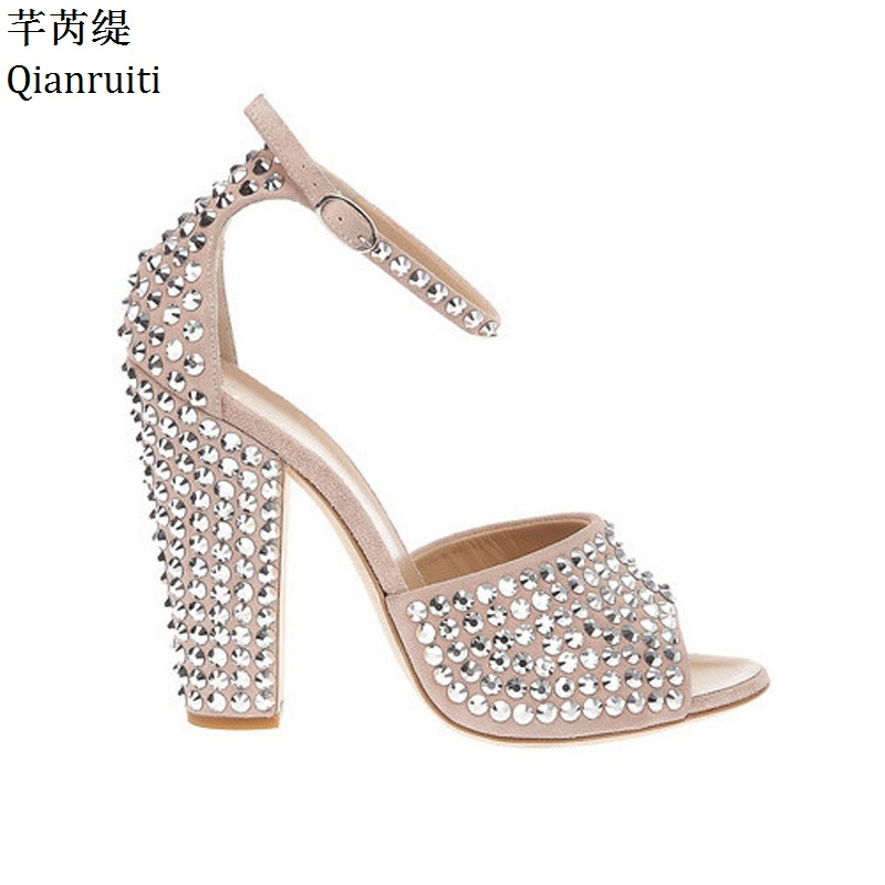 Qianruiti Silver Studded Rivets Block Heels Women Sandals Beige Ankle Buckle Strap Women Pumps Peep Toe High Heels Women Shoes цены онлайн