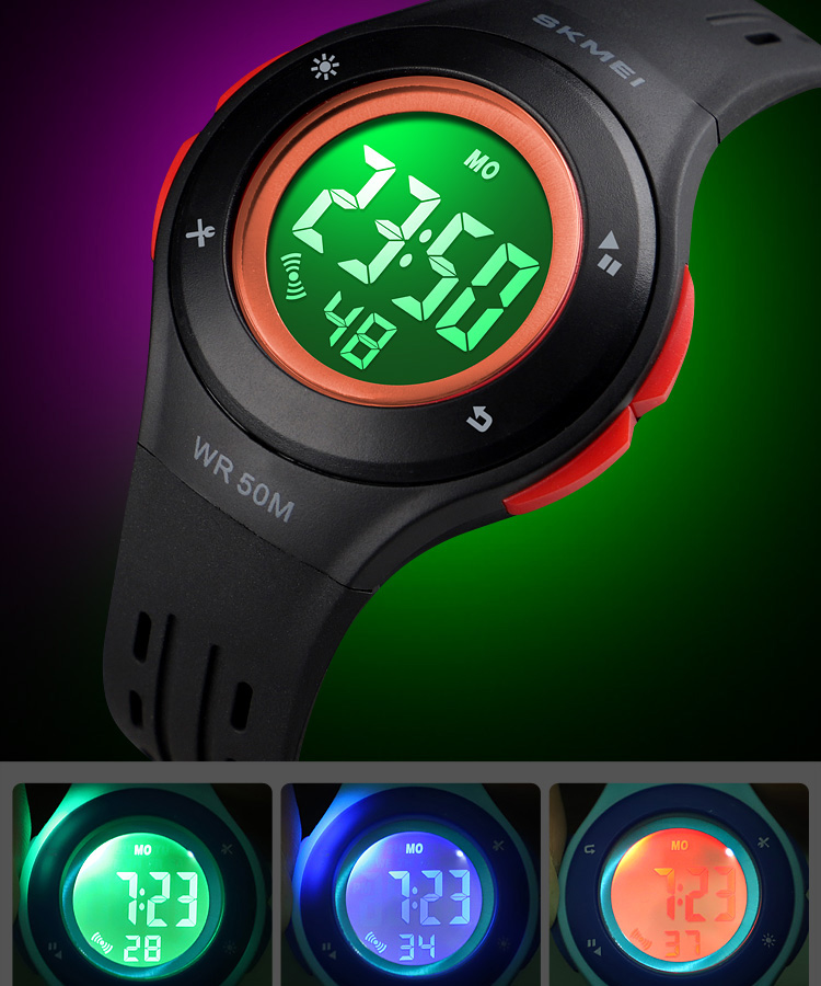 SKMEI Fashion Men Quartz Watch Children Digital Watch Big Dial Waterproof Parent-child Watches relogio masculino 9185 1455 Set 16