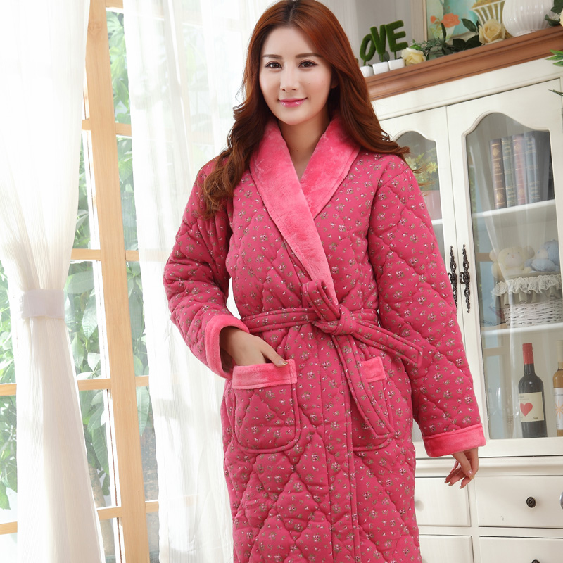Online Shop Winter bathrobes long-sleeve cotton nightie female ...