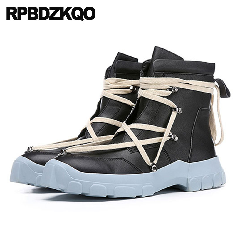 Men Trainer Harajuku Super Warm Winter Boots Russian Style Full Grain Thick Soled Plus Size Sneakers Shoes High Sole Fur Ankle black super warm winter boots russian style full grain men fashion trainer sneakers high top genuine leather booties fur shoes