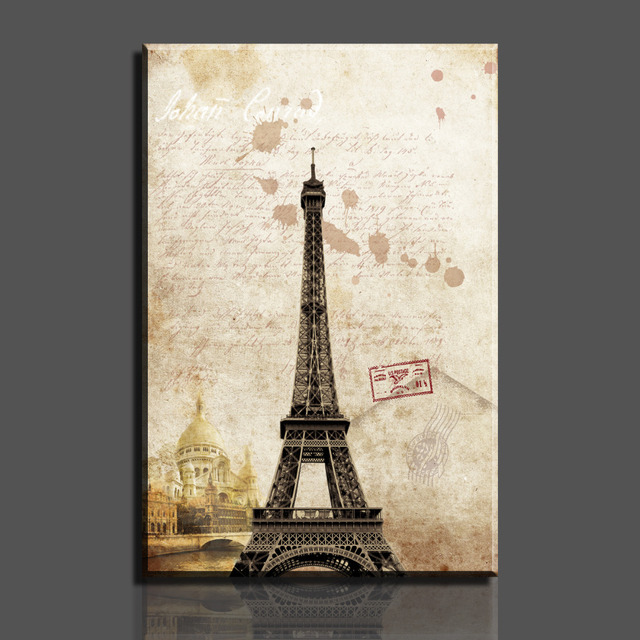 Paintings 1 piece hot sell paris eiffel tower picture on canvas arts modern home wall