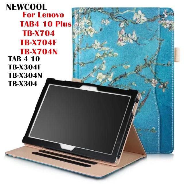 TAB 4 10 TB-X304F Color Painted Flip Leather case smart Cover  for Lenovo TAB4 10 Plus TB-X704 TB-X704F TB-X704N tablet case ultra thin smart flip pu leather cover for lenovo tab 2 a10 30 70f x30f x30m 10 1 tablet case screen protector stylus pen