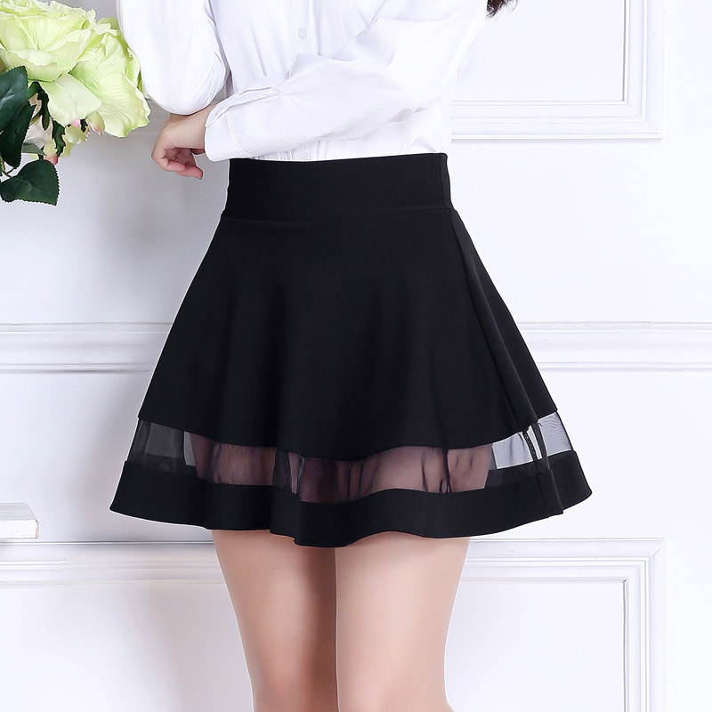 Fashion Women Cute Mini A-line Skirt Mesh Splice Pleated Hem High Waist Casual Skirts FS99