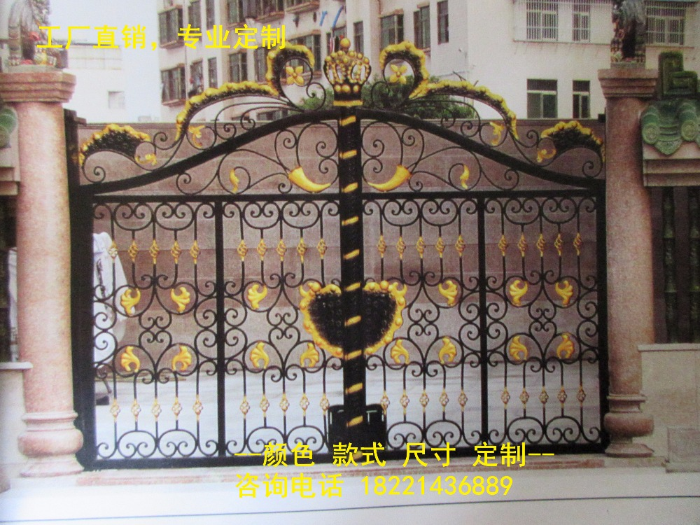 Custom Made Wrought Iron Gates Designs Whole Sale Wrought Iron Gates Metal Gates Steel Gates Hc-g50