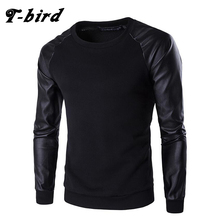 T-Bird 2017 New Fashion Hoodies Brand PU Leather Stitching Sweatshirt Malemen'S Sportswear Hoody Hip Hop Autumn Winter Hoodie