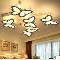 Простой светодиодный потолочный светильник креативный белый бабочка в форме кованого железа акриловая спальня с регулируемой яркостью пу...