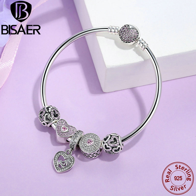 BISAER 925 Sterling Silver Heart Bangles & Bracelets for Women Mom Pendant Pink Heart Bracelets Authentic Silver Jewelry EDB002 5 11
