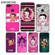 For Huawei P8 P9 P10 P20 P30 Pro Lite P Smart Plus Y6 Y9 2019 Black Soft Silicone Phone Case Pink Betty Boop Style
