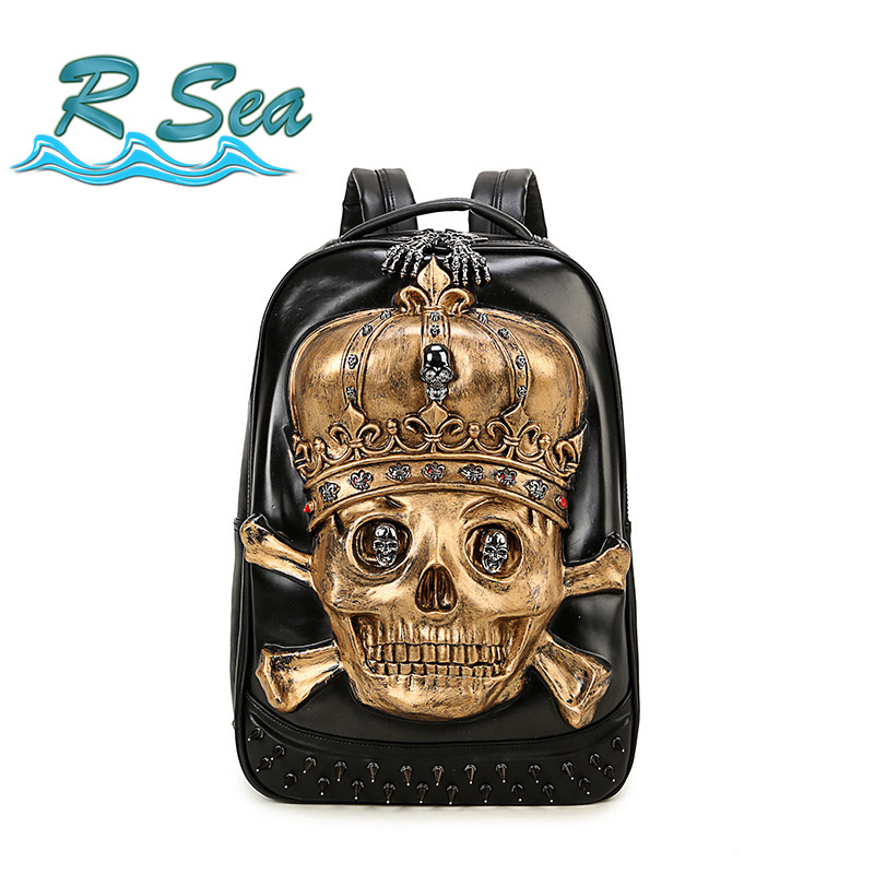 Sac à dos sac Cool crâne monstre sac à dos personnalité sac de voyage étanche ordinateur portable étudiant bookbag expédition rapide