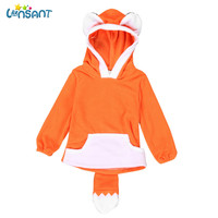 LONSANT 2018 spring boys and girls universal new long-sleeved warm cute fashion cartoon design fox baby kids baby hooded sweater