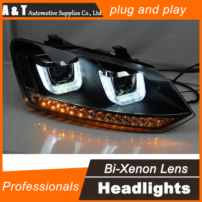 Car Styling 2009-2015 for VW Polo Headlight assembly New Polo LED Headlight Cruiser drl Lens Double Beam H7 with hid kit 2pcs. hireno headlamp for 2015 2017 hyundai ix25 crete headlight headlight assembly led drl angel lens double beam hid xenon 2pcs