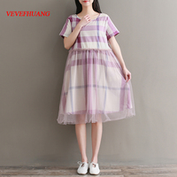 2018 New Spring Summer Women dress Short Sleeve Plaid Patchwork O Neck Mesh Loose Literature And Art Dresses Grid L0944
