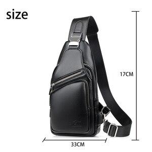 Image 3 - 2019 Jackkevin Mode Heren Schoudertas Inbraakpreventie Zwart Lederen Heren Borst Zak USB Opladen Crossbody Tassen Reistas