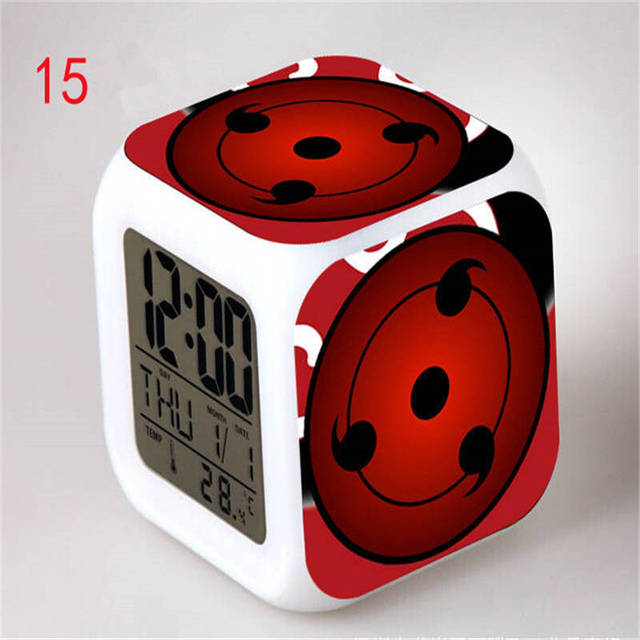 Naruto Ninja Digital 7 Colors LED Alarm Toy Temperature Clock