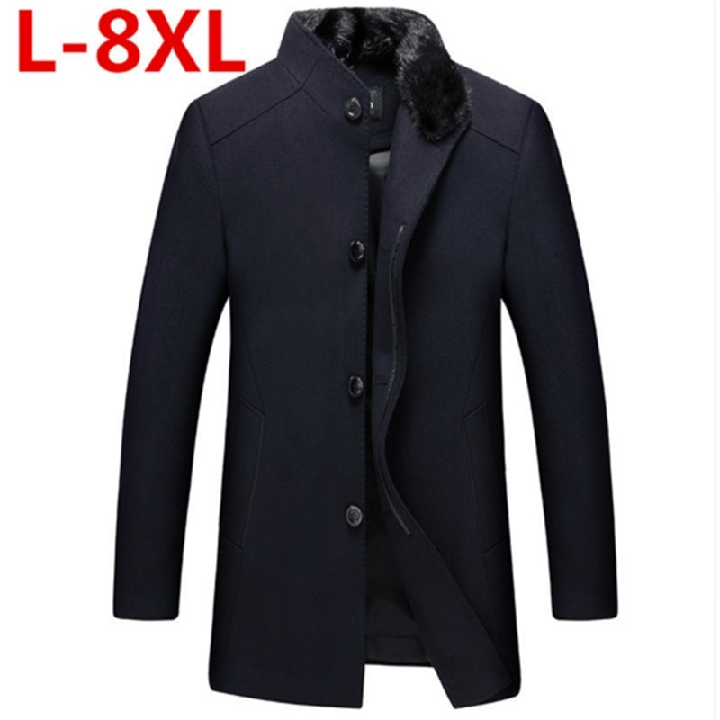 2017 New big size 8XL 7XL 6XL 5XL Casual Thick Warm Men Winter Woolen Coat Medium Fur Collar Plus Size Men Woollen overcoat men plus size 4xl 5xl 6xl 7xl 8xl 9xl winter pant sport fleece lined softshell warm outdoor climbing snow soft shell pant