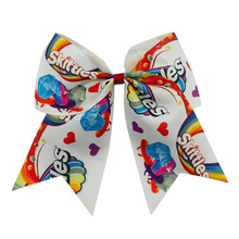 Adogirl 7 Inch Skittles Candy Rainbow Print Hair Bows Girls Party Accessories Scruchies Handmade Ribbon DIY Bands