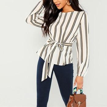 Women Chiffon Blouse Shirt 2019 Female Clothing Long Sleeve Blusas Chiffon Women's Office Blouses Print Striped Dot Lady C0567