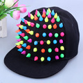 Hot Sale High Quality Handmade Adjustable Snapback Cap Colorful Spike Stud Rivets Peaked Cap Punk Style Rock Hiphop Street Cap