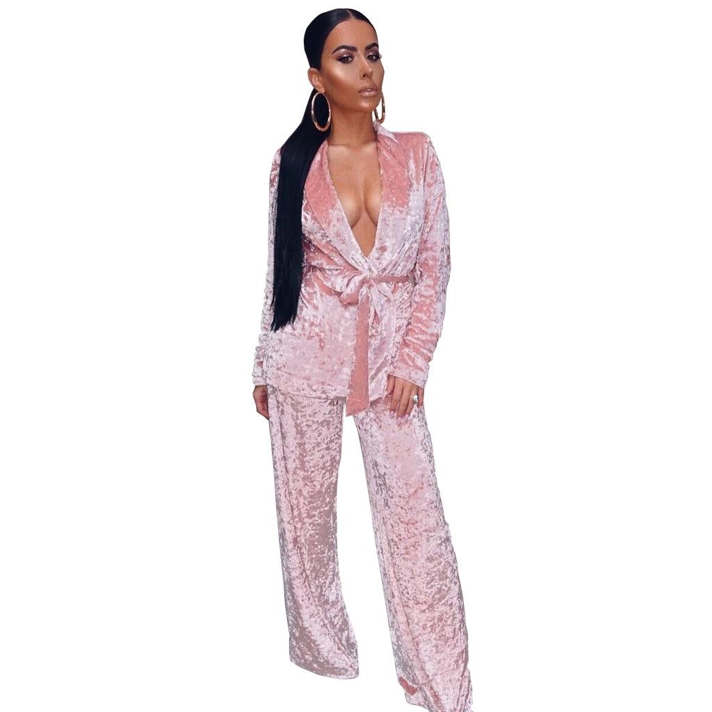 Velvet Fabric Women Coat Jackets Autumn Bandage Tie Belt Deep V Neck 2 Piece Women Fashion Velvet Tops 2XL WS3236U