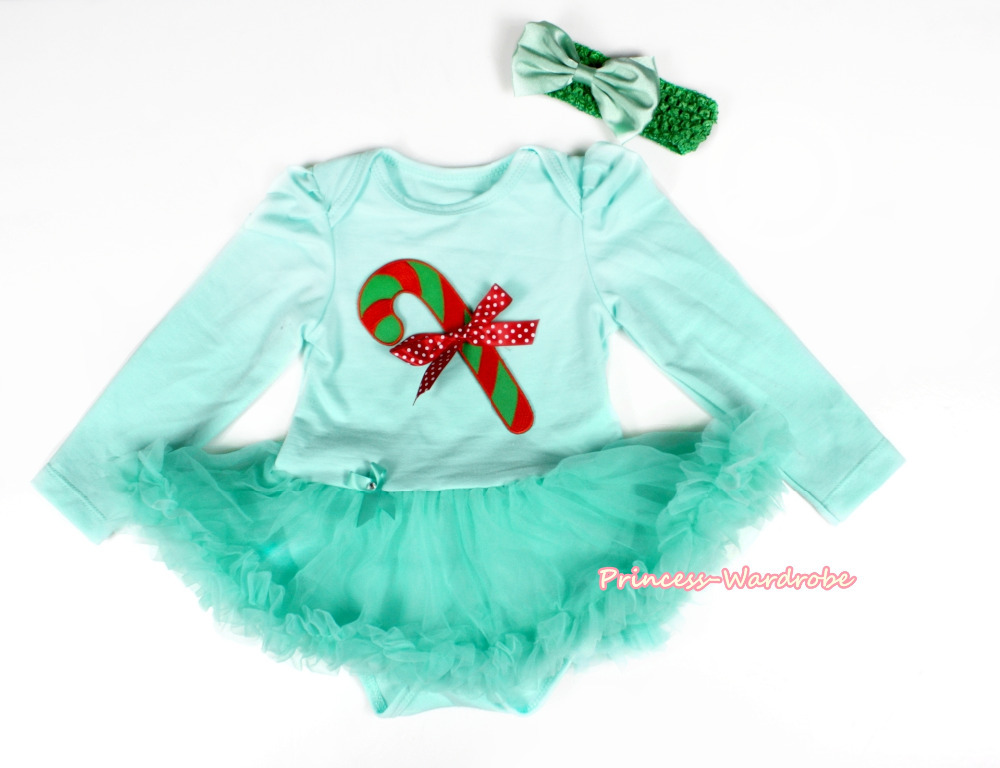 navidad del bastn de caramelo aqua azul body de manga larga falda azul del vestido del